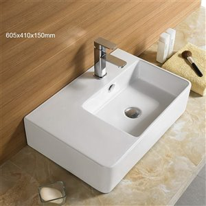American Imaginations Vessel Sink for 1-Hole Faucet - 23.8-in - White