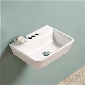 American Imaginations Wall-Mount Rectangular Sink - 17.5-in - White