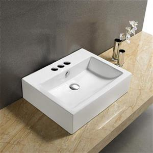 American Imaginations Vessel Rectangular Sink - 31.5-in - White