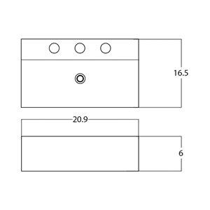 American Imaginations Rectangular Sink - 20.9-in - White