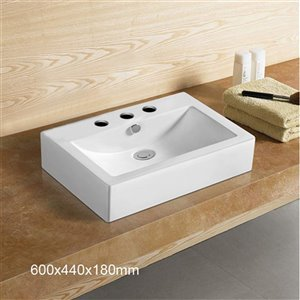 American Imaginations Rectangular Bathroom Vessel Sink - 23.6-in - White