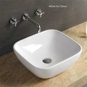 American Imaginations Vessel Rectangular Sink - 18.1-in - White