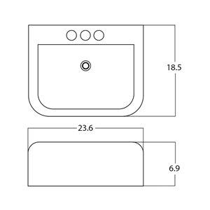 American Imaginations Rectangular Sink - 23.6-in - White