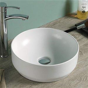 American Imaginations Round Bathroom Sink -13.8-in - Matt White