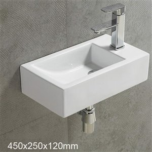 American Imaginations Wall-Mount Rectangular Sink - 17.7-in - White