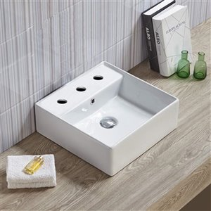 American Imaginations Square Bathroom Sink - 15-in - White