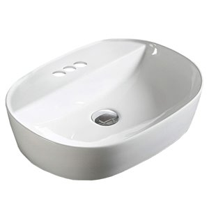 American Imaginations Vessel Oval Sink - 19.7-in - White