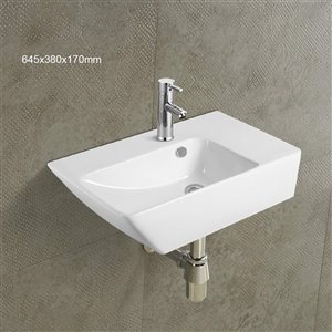American Imaginations Wall-Mount Bathroom Sink - 25.4-in - White