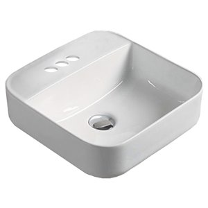 American Imaginations Vessel Square Sink - 15.4-in - White