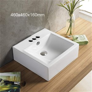 American Imaginations Square Vessel Sink - 18.1-in - White