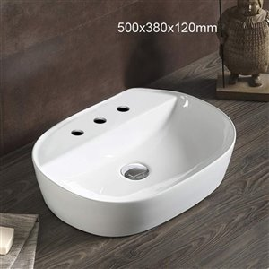 American Imaginations Vessel Rectangular Sink - 19.7-in - White
