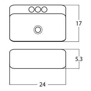 American Imaginations Vessel Rectangular Sink - 24-in - White