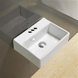 American Imaginations Wall-Mount Sink - 15.2-in - White