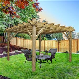 Cedarshed Cedar Pergola - 12 ft x 12 ft - Brown