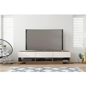 Nexera 105470 Rustik TV Stand -  72-inch -  3 Drawers -  Nutmeg & White