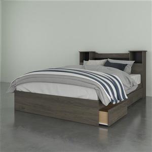 Nexera Bookcase Headboard - Bark Grey - Full Size