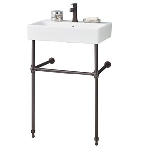 Cheviot Nuo Console Bathroom Sink - 23.3-in - White/Antique Bronze