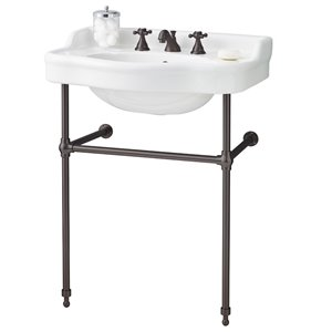 Cheviot Antique Bathroom Sink - 22.50-in - White/Antique Bronze