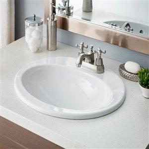 Cheviot Aria Drop-In Bathroom Sink - 20.63-in - White