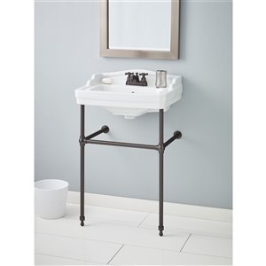 Cheviot Essex Console Bathroom Sink - 24-in - White/Antique Bronze