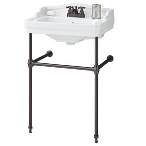 Cheviot Essex Console Bathroom Sink - Vitreous China - 24-in - White/Antique Bronze