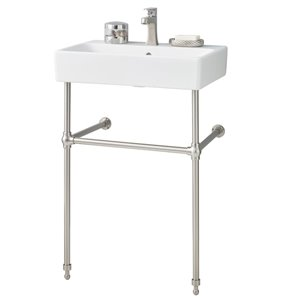 Cheviot Nuo Console Bathroom Sink - 23.63-in - White/Brushed Nickel