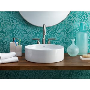 Cheviot Flow Vessel Bathroom Sink - 15.25-in - White