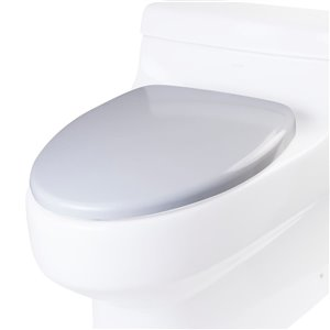 EAGO Slow-Close Toilet Seat for Elongated Toilet - Plastic - 19-in x 15.25-in - White