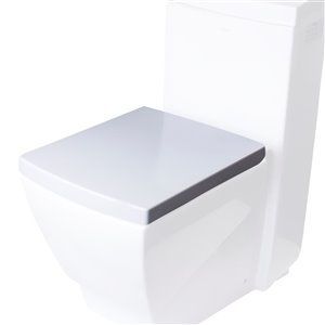 EAGO Slow-Close Toilet Seat for Elongated Toilet - Plastic - 18.25-in x 14.75-in - White