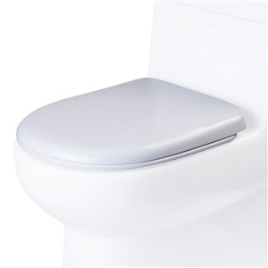 EAGO Slow-Close Toilet Seat for Elongated Toilet - Plastic - 18.5-in x 14.75-in - White