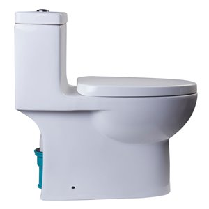 EAGO Slow-Close Toilet Seat for Elongated Toilet - Plastic - 18.5-in x 14.5-in - White