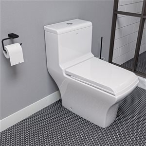 EAGO Square 1-Piece Toilet - Dual Flush - Standard Height - 15.75-in - White