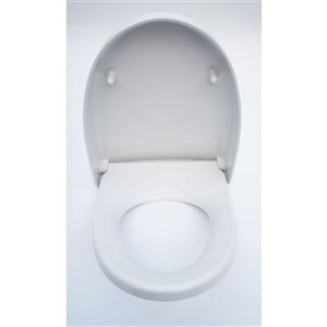 EAGO Slow-Close Toilet Seat for Elongated Toilet - Plastic - 19.5-in x 16.5-in - White