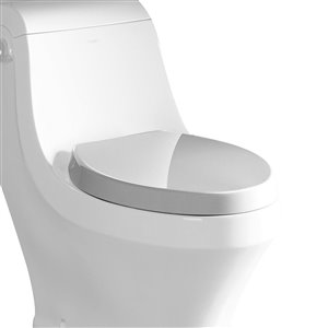 EAGO Slow-Close Toilet Seat for Elongated Toilet - Plastic - 19.75-in - White