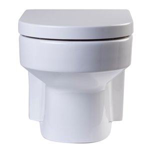 EAGO Elongated Wall Mount Toilet - Dual Flush - Comfort Height - 14-in - White