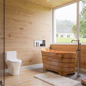 EAGO Dual Flush Elongated Toilet - WaterSense - Standard Height - 15.25-in - White