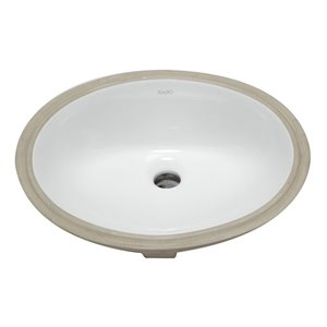 EAGO Undermount or Drop-I Oval Bathroom Sink - 17.75-in - White