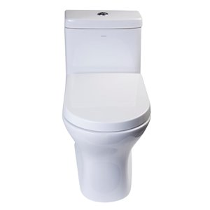 EAGO Slow-Close Toilet Seat for Elongated Toilet - Plastic - 18.75-in x 14.25-in - White