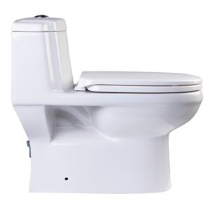 EAGO Elongated 1-Piece Toilet - Dual Flush - Standard Height - 14.5-in - White