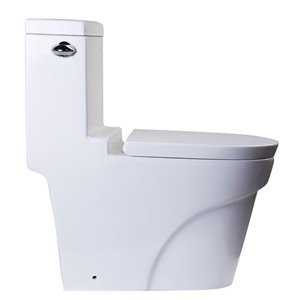 EAGO Slow-Close Toilet Seat for Elongated Toilet - Plastic - 17.25-in x 14.5-in - White