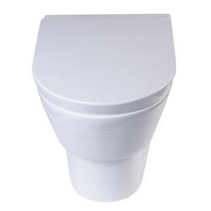 EAGO Slow-Close Toilet Seat for Elongated Toilet - Plastic - 17.25-in - White