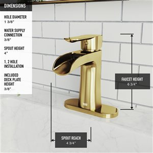 VIGO Paloma Single Hole Bathroom Faucet with Deck Plate - Matte Brushed Gold