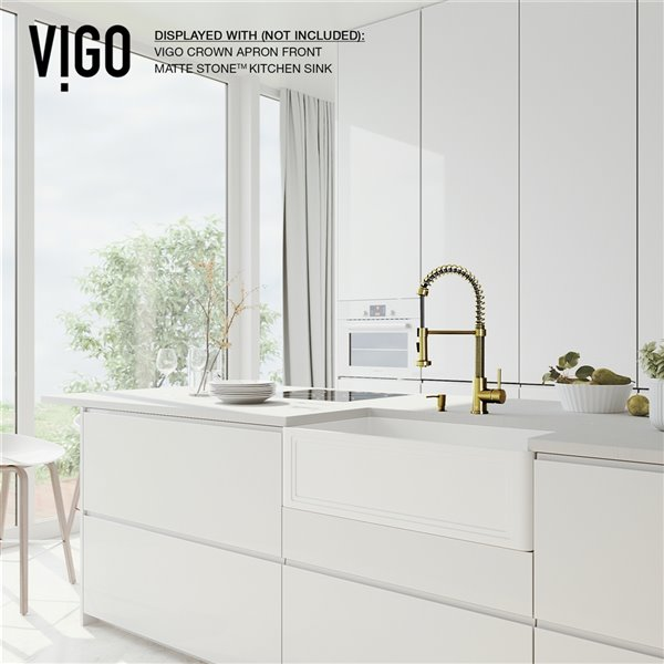Vigo Edison Pull Down Spray Kitchen Faucet And Soap Dispenser Matte Brushed Gold Lowe S Canada
