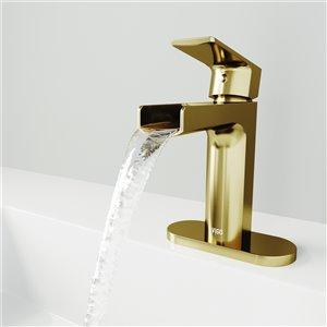 VIGO Ileana Single Hole Bathroom Faucet with Deck Plate - Matte Brushed Gold