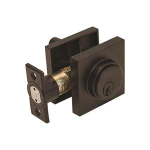 Forge Locks Europa Square Single Cylinder Deadbolt Matte Black Lowe S Canada
