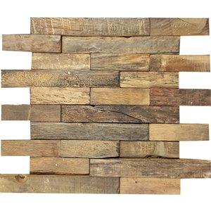 Mono Serra Wood Mosaic Tile - 12'' x 12'' - Old Boat Wood