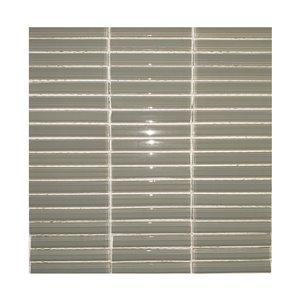 Mono Serra Glass Mosaic Smoked Stack Tiles -  12'' x 12'' - Light Grey
