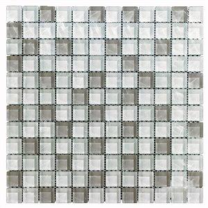 Mono Serra Glass Mosaic Tiles - 12'' x 12'' - White/Grey