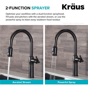 Kraus Sellette Pull-Down Kitchen Faucet - Single Handle - 16.5-in - Oil Rubbed Bronze