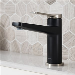 Kraus Indy Bathroom Sink Faucet - 1-Handle - 6.25-in - Stainless Steel/Matte Black